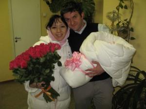 В роддоме с дочкой Нирмалой