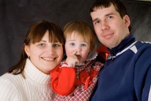 Татьяна с дочкой и мужем