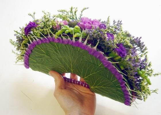 Веер из живых цветов как сделать