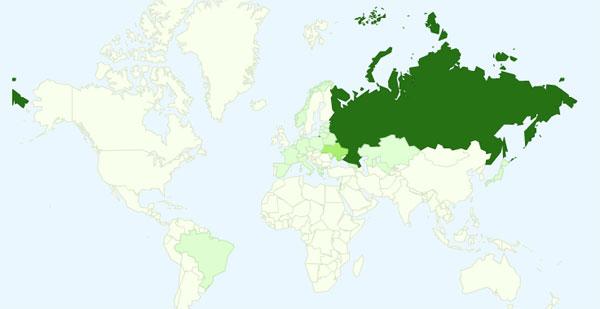 Наложение данных на карту в Google Analytics