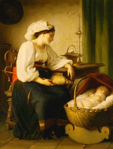 Nineteenth Century European Painting of Mother and Child