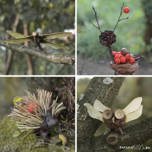 Поделки из природных материалов: олень, ёжик, стрекоза, сова