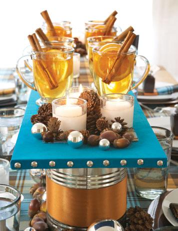 Праздничное оформление стола с глинтвейном